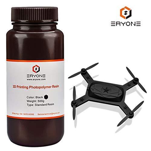 ERYONE 405nm UV-Harz für DLP LCD 3D-Drucker Photopolymer Durchscheinend Hochpräzise Dosenmischung 0,5 kg Black