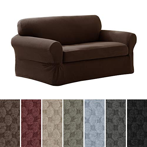 - MAYTEX Pixel Ultra Soft Stretch 2 Piece Loveseat Furniture Cover Slipcover, Chocolate Brown