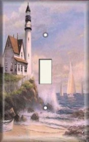 Nautical Single Light Switch Plate Cover - Lighthouse / Sailboat