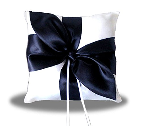 SACASUSA(™) Black Satin Bow WHITE Wedding Ring pillow Bearer