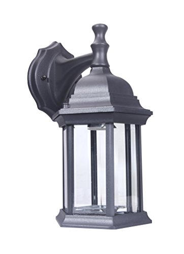 LIT-PaTH Outdoor Wall Lantern, Wall Sconce Light as Porch Lighting Fixture with One E26 Base Max 100W, Aluminum Housing Plus Glass, Matte Black Finish, Water-Proof Outdoor Rated ()