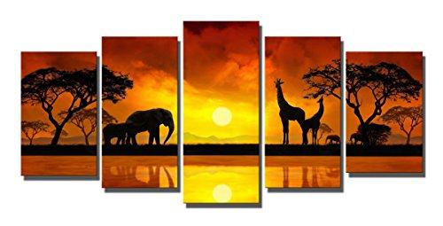 African Giraffe (Boqi Art-Modern Landscape 5 Panels Giclee Canvas Prints Elephant Giraffe In African Artwork for Home Decoration)