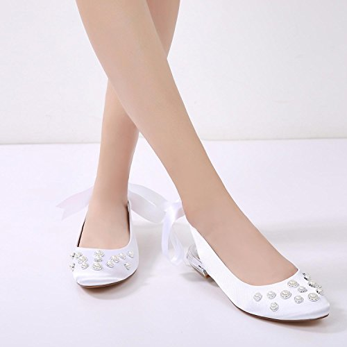 L Shoes Purple 24 Pumps Shoes Heels Pearl Ribbon Wedding Women Lace Toe 5049 YC Wedding Almond Appliques rtq1war