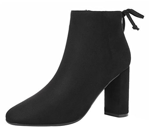 T&Mates Womens Elegant Charming Side Zipper High Chunky Heel Dress Solid Suede Ankle Booties (6 B(M)US,Black)