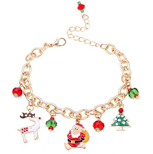 (FAVOT 2019 New Alloy Santa Claus Christmas Tree Pendant Bracelet Girls Party Christmas Jewellery Present (Rose Gold))