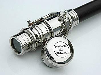 (Walking Wood Cane-Brass Telescope Walking Stick- Hidden Spy Telescope Handle)