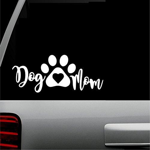(Dog Mom (White) Vinyl Decal Pets Animals Auto Vinyl All-Weather Design DIY logo wrap Decal Window Car SUV Truck Bumper Sticker 6