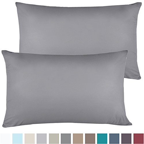 (Empyrean Bedding Soft Pillow Cases - Double Brushed Microfiber Hypoallergenic Pillow Covers - Premium Bed Pillow Cases - Luxury Hotel Pillowcases - King Size, Set of 4 - Gray)