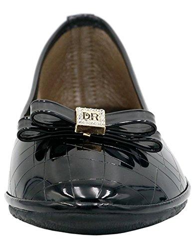 Plates Couleur Noir Femme Ageemi Ballerines eud17 Tire Shoes Unie Chaussures ww6PaF