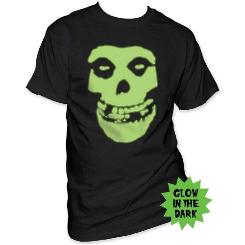 The Misfits Mens Glow In The Dark Classic Skull T-Shirt Black
