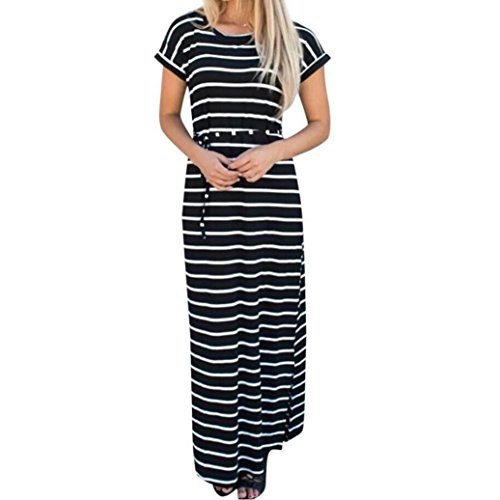 Black And White Tweed Skirt - TOTOD Fashion Women Summer Boho Stripe Black Long Maxi Dress Evening Party Beach Dresses