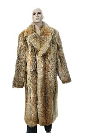 513267 New Natural Mens Coyote Fur Full Length Coat
