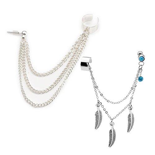 Chain Fringe Earrings - PiercingJ 1-9pcs Punk Silver Tassels Fringe Chain Ear Cuff Stud Clip Earrings Helix Cartilage Barbell Tragus Studs Clip On Jewelry