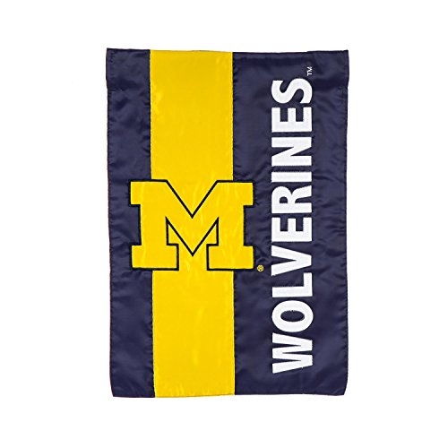 Team Sports America University Of Michigan Outdoor Safe Double-Sided Embroidered Logo Applique Garden Flag, 12.5 x 18 (Michigan Wolverines School Charm)