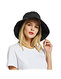 65ec0529 EINSKEY Womens Bucket Hat Summer Foldable Wide Brim Cotton Sun Hat Beach Hat
