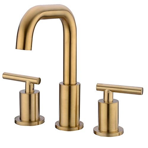 TRUSTMI Two-Handle 8 Inch Widespread Bathroom Sink Faucet 3 Hole with cUPC Faucet Supply Hoses Brushed Gold ()