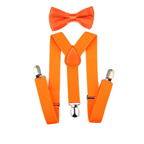 AWAYTR Kids Boys Girls Suspenders Strong Clips With Bow tie Set (Fluorescent Orange)