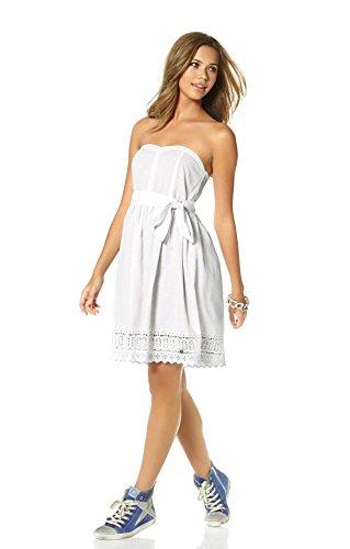 Mujer Ajc Trapecio para Vestido 38 Opaco Blanco IqfxTBw1q