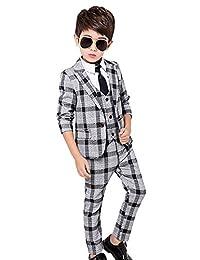 Luobobeibei Boy's Check Tuxedo Suit Set 3 Pcs Morden Fit Dress Suit Set 2t-12Y
