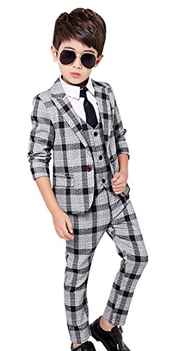 Boys Tuxedo Suit Set Button Down Technical Formal Plaid and Check Suit With Dress Jacket Pants Vest 5-6Y 130 Gray Dress Vest Pants