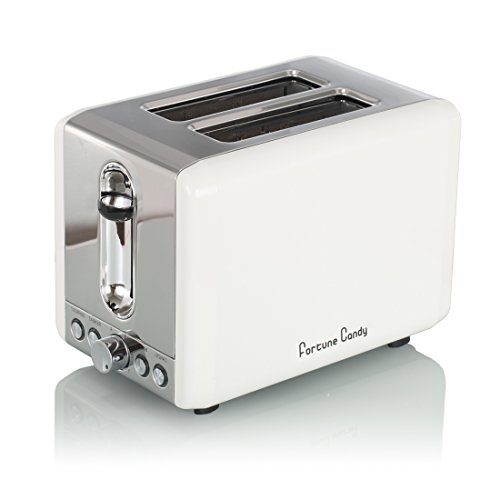 Fortune Candy BM0109 Stainless Steel and Elegant White 2 Slice Toaster (White)