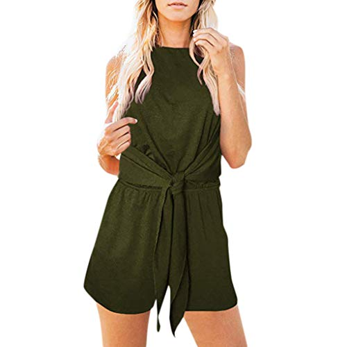 WONdere Women Sleeveless Halter Neck Solid with Pockets Knot Front Short Jumpsuit Romper