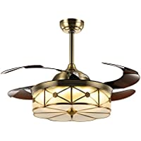 NOXARTE 42 Inch Promote Natural Ventilation Brass Color Invisible Fan LED Dimmable (Warm/Daylight/Cool White) Chandelier Foldable Ceiling Fans With Lights Retractable Fan Fandelier with Remote