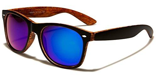 Matte Black & Faux Wood Print Square Sunglasses w/Flash Iridium Mirror Lenses (Matte Black & Cherry, Blue)
