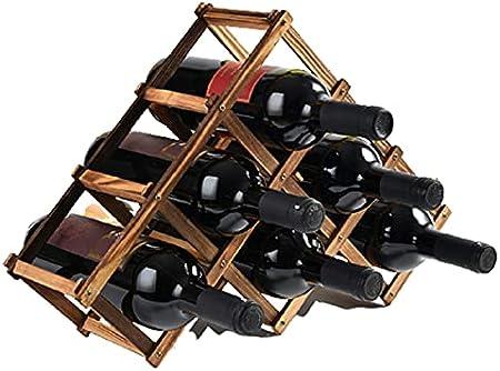 CMYY Estante para Botellas De Vino Plegable, Botelleros De Madera para Vino U Otras Bebidas – Vinoteca De Madera para 6 Botellas,Smoked Black,6 Bottles