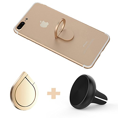 Phone Magnetic Car Mount and Finger Ring Holder, ANARONA 360° Rotation Zinc Alloy Grip Finger Ring Stand for iPhone 8, 7, plus, 6, 6S, 5s, 5c, Galaxy S7, S7 Edge, (Finger Magnet)