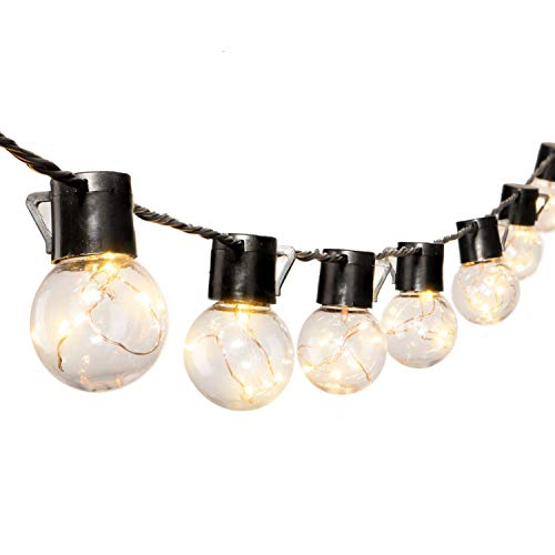 (17 Ft. SHATTERPROOF LED Patio Outdoor String Lights with 20 Clear LED Bulbs, Hanging Indoor String Lights for Backyard Deck Balcony Bistro Cafe Pergola Party Decoration, Warm White)