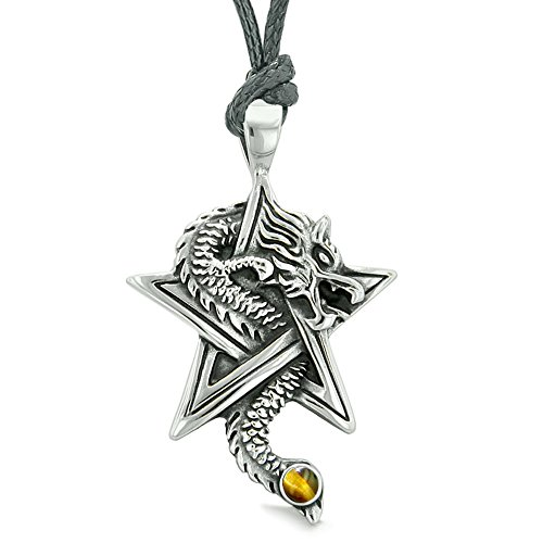Eye Amulet Tiger (Courage Dragon Magical Protection Powers Star Pentacle Amulet Tiger Eye Pendant Adjustable Necklace)