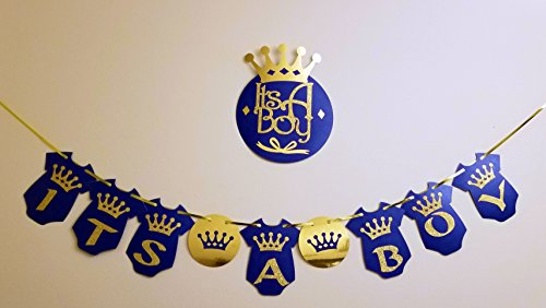 its a boy banner with wall sign | prince baby shower decorations | baby shower decorations for boy | royal baby shower | (prince royal blue) ()