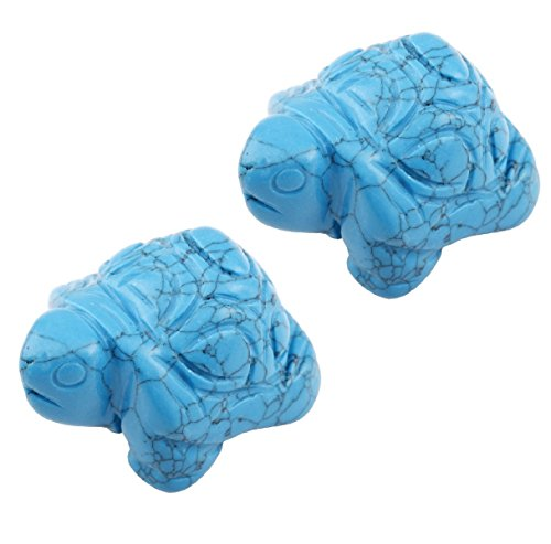 SUNYIK Blue Howlite Turquoise Turtle Tortoise Pocket Statue Figurines Bookend Aamulet Fengshui Pack of 2