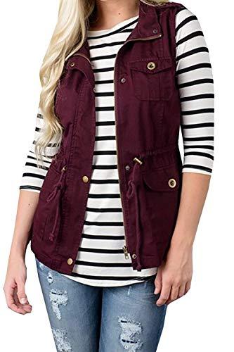 Zip Donna Outerwear Smanicato Sciolto Monocromo Jacket Autunno Burgund Giubbino Primaverile Cute Casual Fashion Mieuid Tasche Con Gilet Chic 4wv1qq