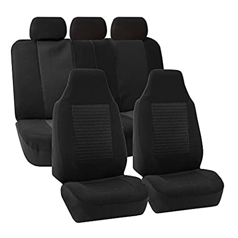 FH GROUP FH-FB107115 Trendy Corduroy Car Seat Covers, Airbag compatible and Split Bench, Solid Black color-Fit Most Car, Truck, Suv, or (Forros Para Mp4)