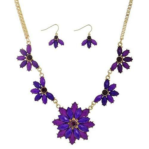 18 Purple Rhinestone Flower Gold Tone Necklace 1 Dangle Hook Earrings Set id-3074