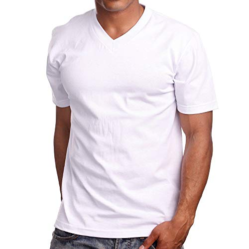 PRO 5 V-Neck Mens Short Sleeve T-Shirt, 3XL, White