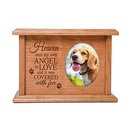 LifeSong Milestones Pets Cremation Urns Personalized Memorial Keepsake Box for Dogs Cats Pet Ashes Heaven Sent its own Angel Holds Small Portion of Ashes Holds 2x3 Photo (Heaven Sent My own Angel)