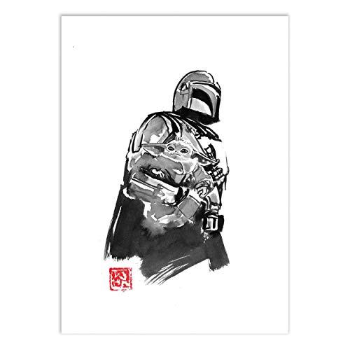WALL EDITIONS Art-Poster - The Mandalorian Version 3 - Pechane Sumie - Format : 50 x 70 cm