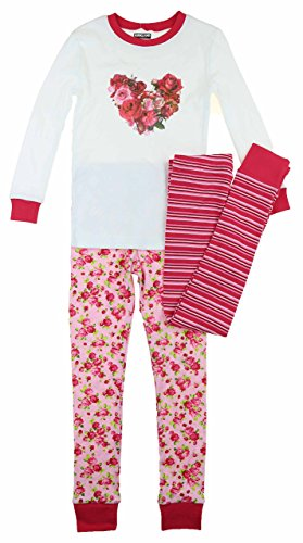 (Kirkland SIgnature 3 Piece Pajama Set, Size 5 Pink/White Floral)