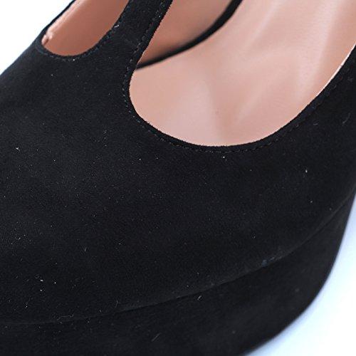 Jane Scamosciata Decolte Donna 3 Tacco MForshop Mary Decollete Eco Scarpe Alto HD6331 Nero 1Zngw