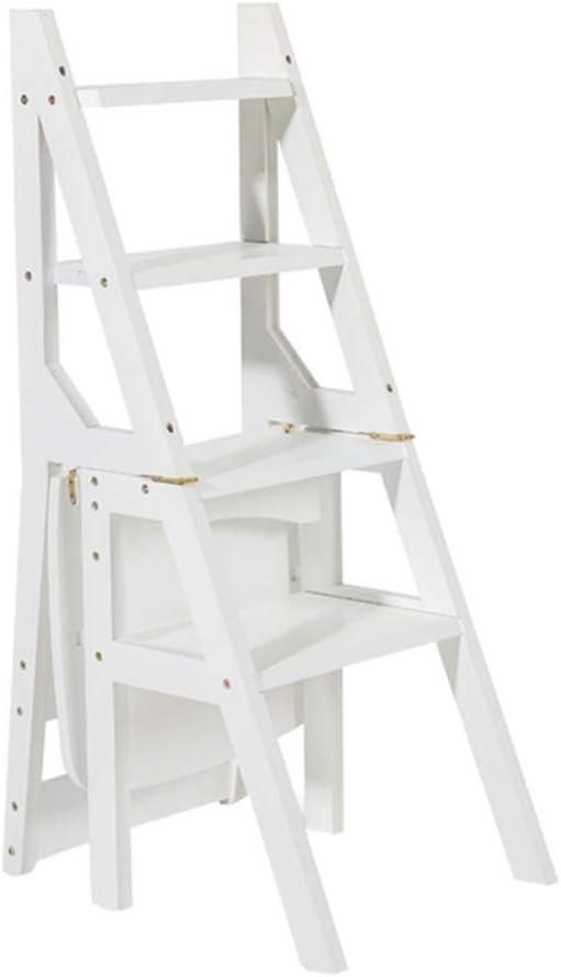 SHKUU Taburete Plegable Blanco para los Adultos, niños, escaleras de Cocina, taburetes, Interior portátil, Zapato Multifuncional, banqueta/Estante para Flores, Altura Escalera de 90 cm Silla: Amazon.es: Hogar