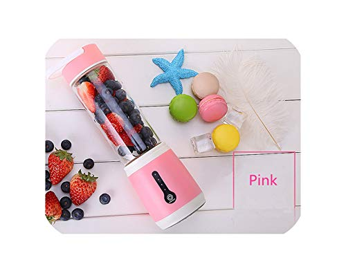 Multifunction juicer 480ml Household Hand Blender mixer mini juicer USB Rechargeable mini portable juicer,Pink
