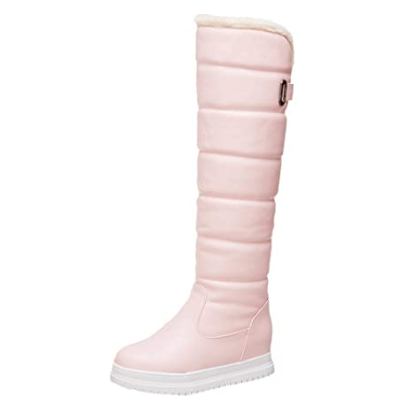 e3fcb1a6efbb Image Unavailable. Image not available for. Color  AIMTOPPY Winter Women s  Warm Knee High Toeround Down Thigh Waterproof Shoes Snow Boots