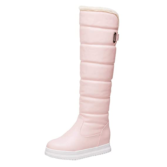 a53c9beacec Amazon.com  Winter Women s Warm Knee High Down Snow Boots Waterproof Thick-Soled  Flat Heels Thigh High Cotton Boots 5.5-9.5  Clothing