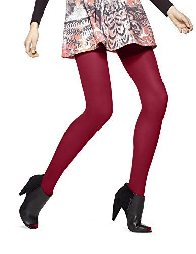 Hue Sheer to Waist Opaque Tight (2, Deep Red) ()