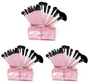 SET OF 3 24 PCS MAKEUP BRUSH KIT PINK