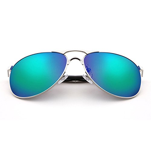 HDCRAFTER Classic Aviators Metal Frame Mirrored Lens Sunglasses Polarized - Sunglasses See Through Non