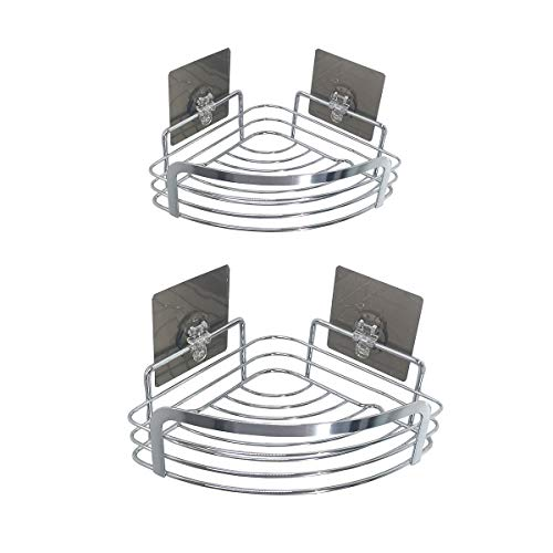 MM20LEMO 2 Pack Corner Shower Caddy Bathroom Shelf Storage Combo Organizer with Adhesive Wall Mounted, Stainless Steel Basket for Toilet, Bathroom,Kitchen